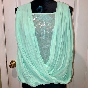 SAKS FIFTH AVENUE RED Turquoise Sequins Top NWOT